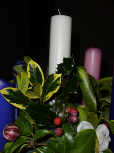 Advent wreath waiting to be lit