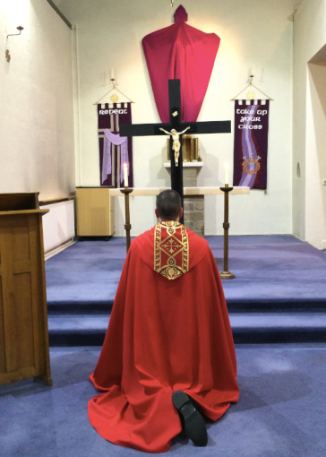 Fr Liam prays the Stations of the Cross on Good Friday